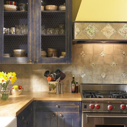 chicken wire on kitchen cabinets for the home