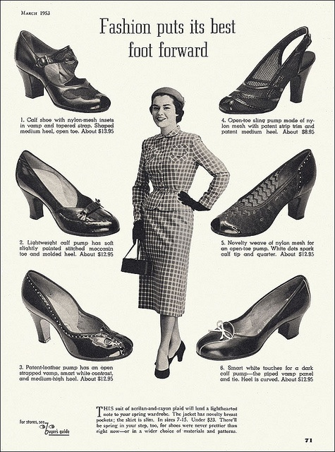 A lovely selection of versatile, attractive heeled shoes from 1953. #shoes #vintage #clothing #ad #1950s  #fifties