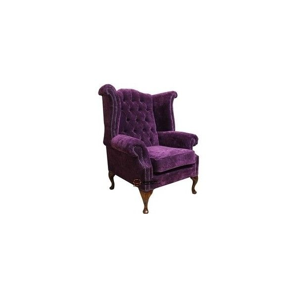 Chesterfield fabric queen anne high back wing chair amethyst purple