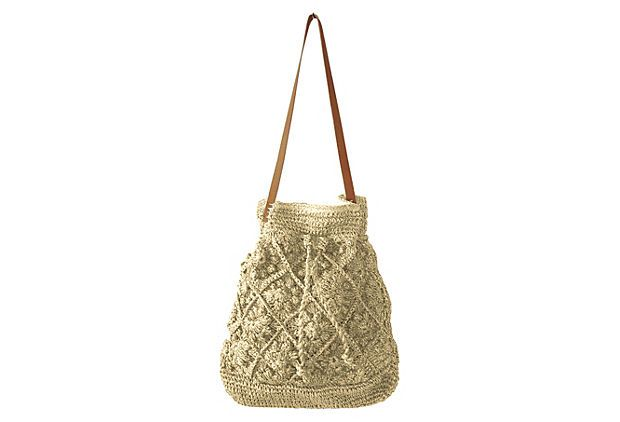 Crochet Bucket Bag : Drawstring Crochet Bucket Bag, Natural on OneKingsLane.com