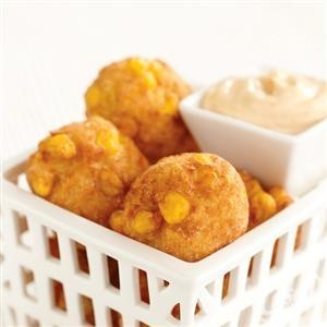 Crispy Corn Fritters with Creamy Maple Chipotle Sauce from Crisco®