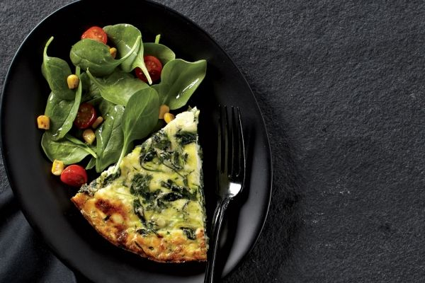 Goat Cheese and Zucchini Crustless Quiche With Grilled Corn Salad