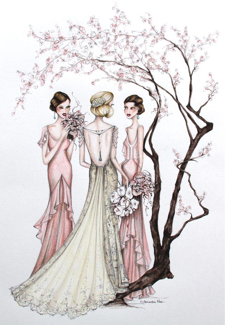 Wedding dress illustration love is in the air pinterest for Art deco illustration