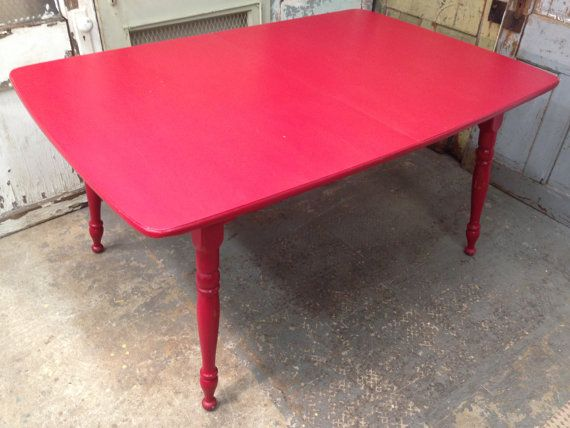 Red Kitchen Table, Vintage Farm Style Table, Solid Maple Wood Dining