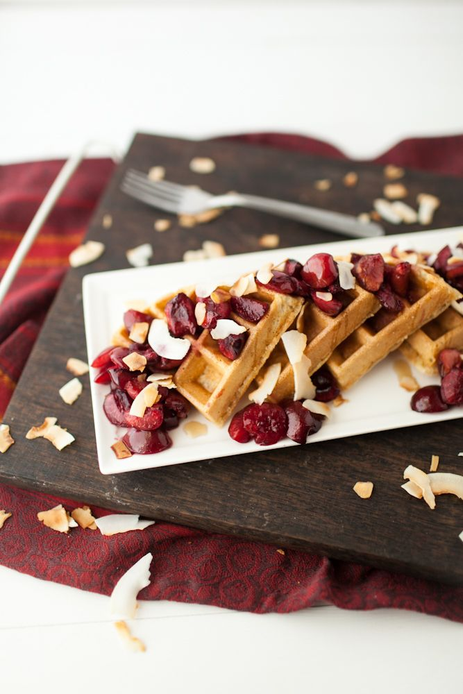 Coconut Waffles with Roasted Maple Cherries. Woah. This waffle recipe ...