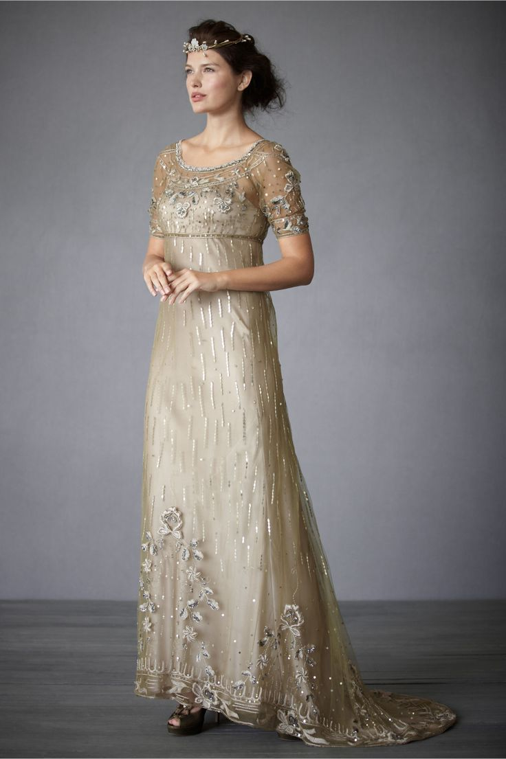 Downton abbey champagne gown dresses skirts style for Downton abbey style wedding dress
