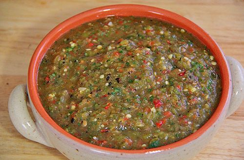 Roasted Green Chili Tomatillo Salsa (good with poblano omitted too)