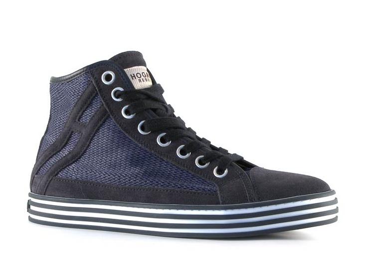 Sneakers alte Hogan uomo in pelle di camoscio e tessuto Blu scuro - Italian Boutique $160