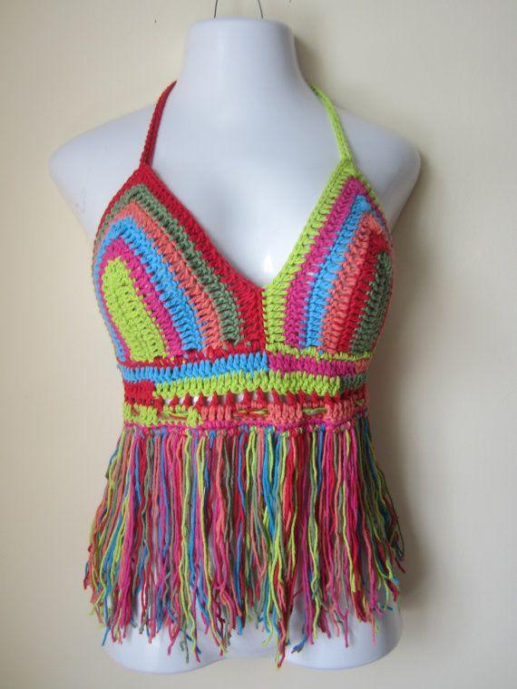 Crochet Halter : CROCHET HALTER TOP, Burning man festival, halter top, festival halter ...
