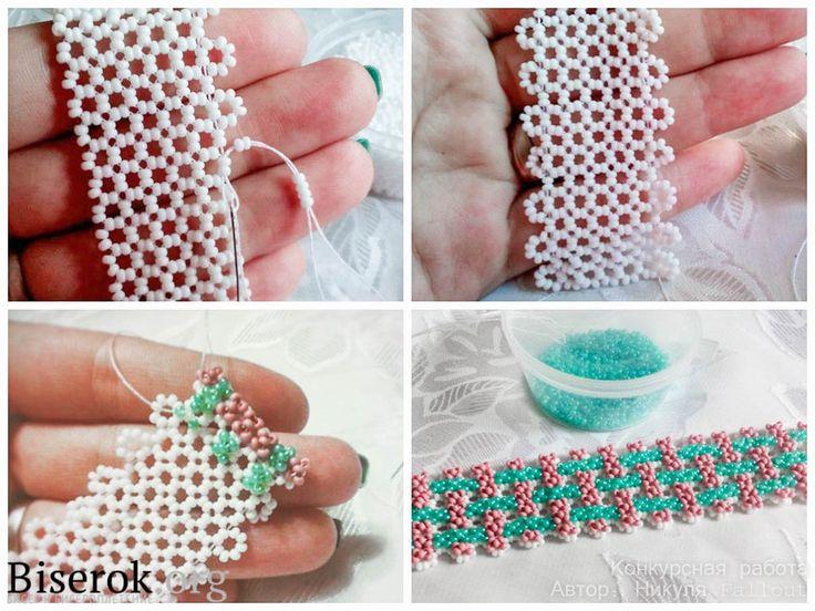Жесткие браслеты из бисера на сетке