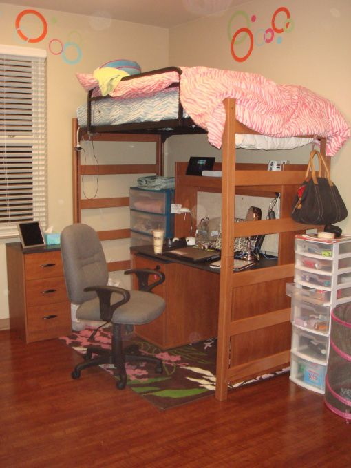 High Lofted bed , Dorm Rooms Design  Morgan  Pinterest ~ 125435_Dorm Room Ideas With Lofts