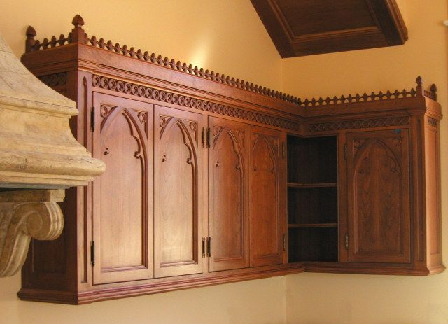 Gothic cabinets castle kitchen pinterest for Castle kitchen cabinets