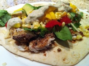 Fish taco with creamy smoked cilantro sauce from vicianchips.wordpress ...