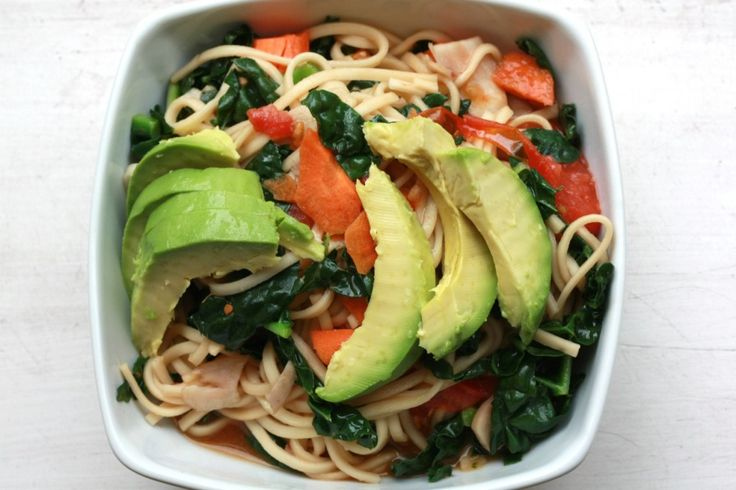 Kamut udon noodles with kale and avocado oil. Oh sweet jeebus... this ...