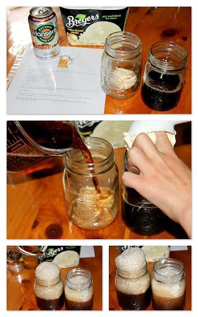 "Root Beer Float- Solid, liquid, gas experiment.  Ice cream is solid, root beer is liquid, air bubbles are gas.  Creates a chemical reaction because the new substance formed can't be easily separated.  Nucleation ""Tiny bubbles of air present in the soda cause the ice cream to float and are nucleation sites for the formation of large bubbles of carbon dioxide""- from Ice cream fizz."