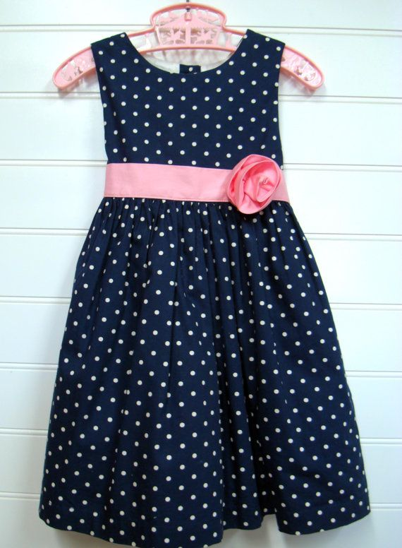 Vintage Baby Clothes Baby Girl Dress In Navy Blue with