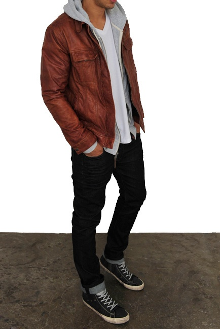 would show off his amazing body.....js...Leather jacket and hoodie
