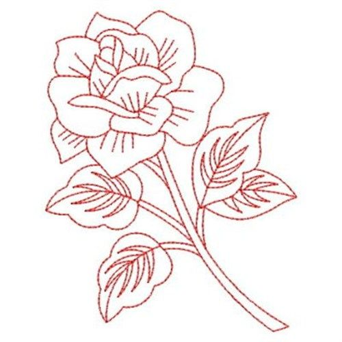 Redwork roses embroidery design patterns