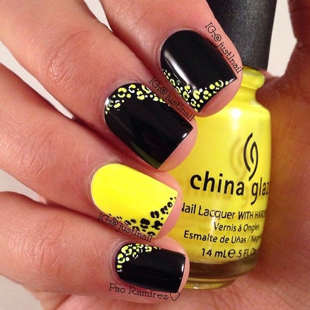 Ногти черно желтый рисунок дизайн 150