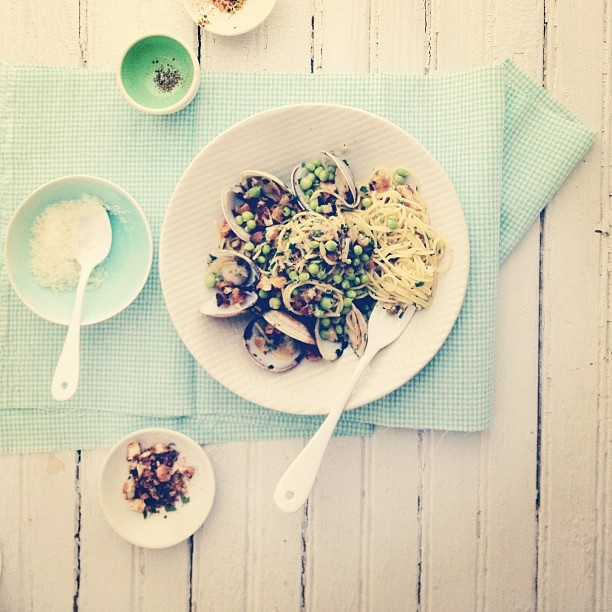 clams, peas, herbs and toasted breadcrumbs