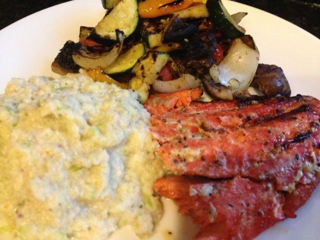 Grilled sockeye salmon (brushed with spicy raspberry brown mustard ...