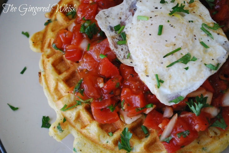... Whisk: Savory Cornmeal Waffles with Chives, fresh salsa and an egg