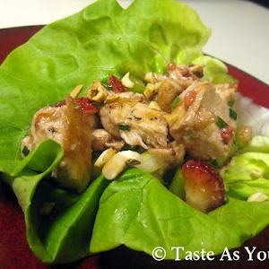Clean Strawberry Chicken Salad Lettuce Wraps with Cashews