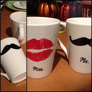 DIY Mr. & Mrs. Mugs for just $2! Great idea for Christmas, an anniversary, or a wedding gift!  #diy #mugs #crafting