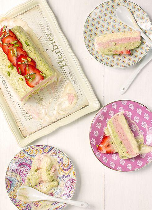 Pistachio Strawberry Vanilla Semifreddo | Let's Go Nutty | Pinterest