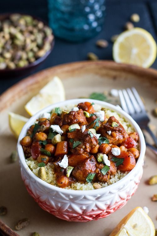 ... Moroccan Chicken + Chickpeas with Pistachio Couscous and Goat Cheese