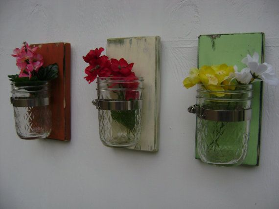 Wall Decor With Mason Jars : Mothers day shabby chic rustic wooden vases sconce mason