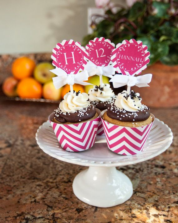 Hot Pink Chevron Collection Cupcake 2 Party by GemmaTouchstone, $6.00