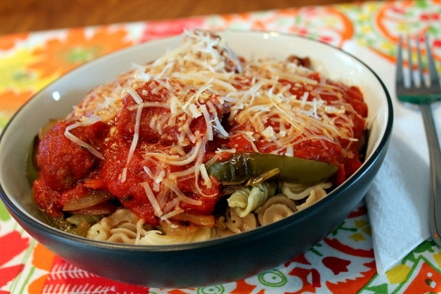 Whole wheat pasta with spinach, sauteed peppers and onions, Parmesan ...