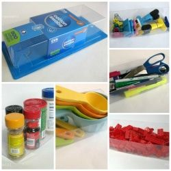 Use repurposed packaging to organize your home. See how 1 item was used 10 different ways to organize every day household items.  Posted by Organized31