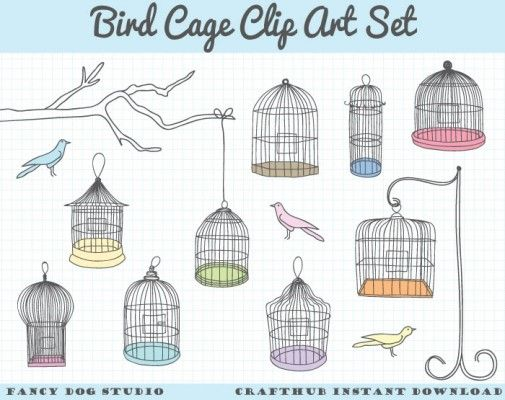99 fancy dog studio bird cage clip art set