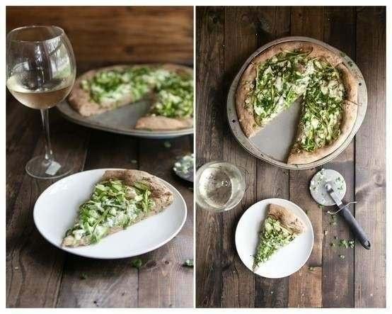 shaved asparagus and gorgonzola pizza | Yummy Stuff | Pinterest