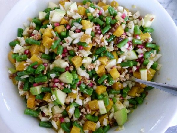 chopped salad - green beans, golden beets, pomegranate seeds, green ...