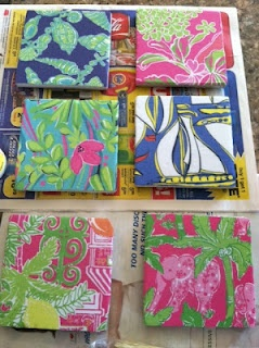 Lilly does love green! [coasters made from lilly agenda pages]
