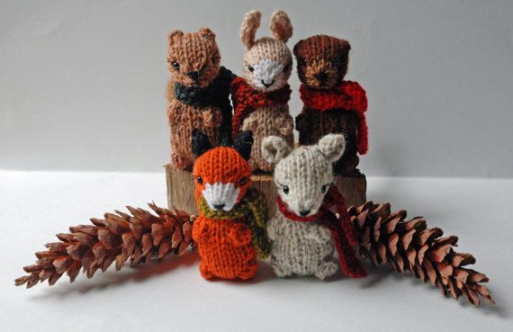 Knitting Patterns For Forest Animals : Small Knitted Woodland Animals - Autumn in the Forest