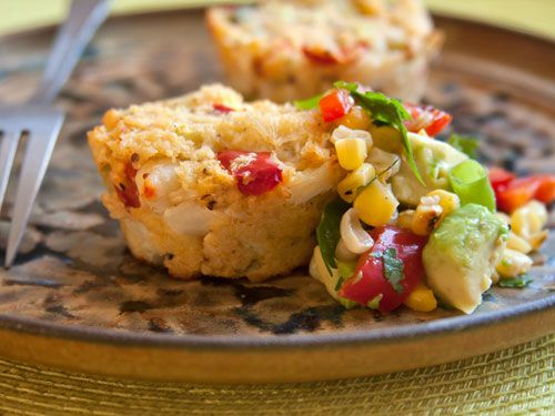 Crab Cakes with Corn Tomato Relish Bake crab cakes in a muffin tin for ...
