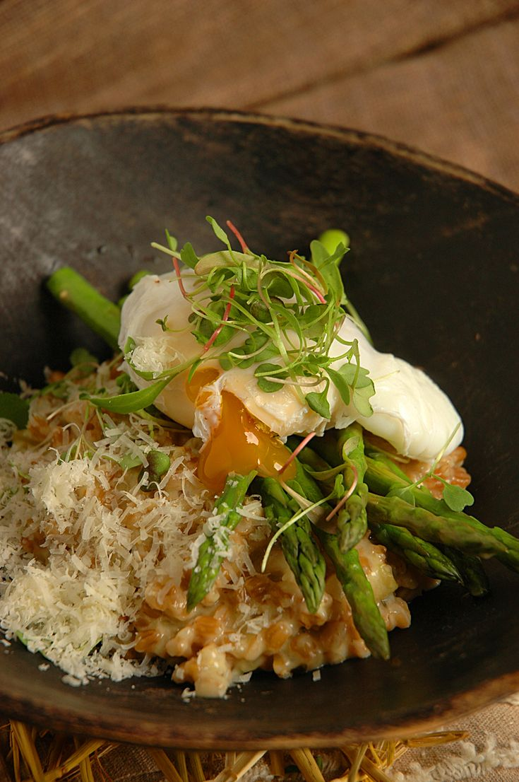Wheat and Asparagus Risotto with Poached Goose Eggs