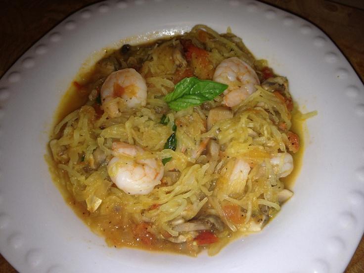 Sautéed onions, basil, mushrooms, garlic, tomatoes, and shrimp over ...