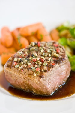 ... Corner | Peppercorn Crusted Filet Mignon with Balsamic Red Wine Sauce