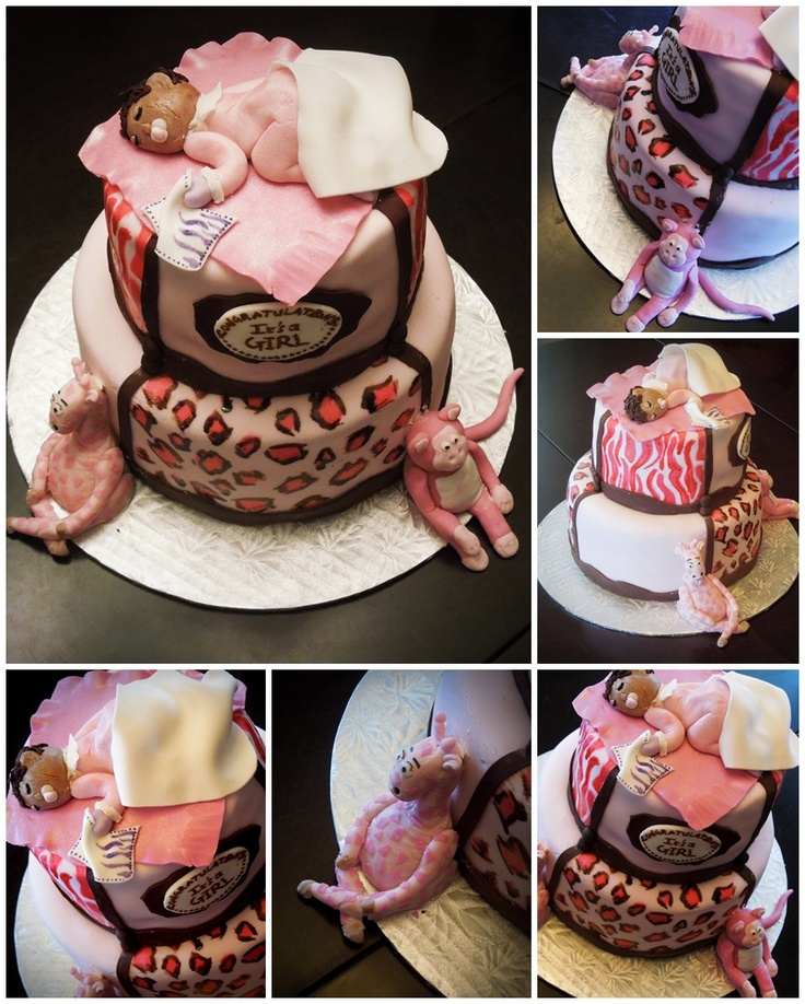 pink safari baby shower cake oooh baby pinterest