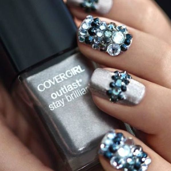 Silver nails with design stones  | Nail Ideas | Pinterest