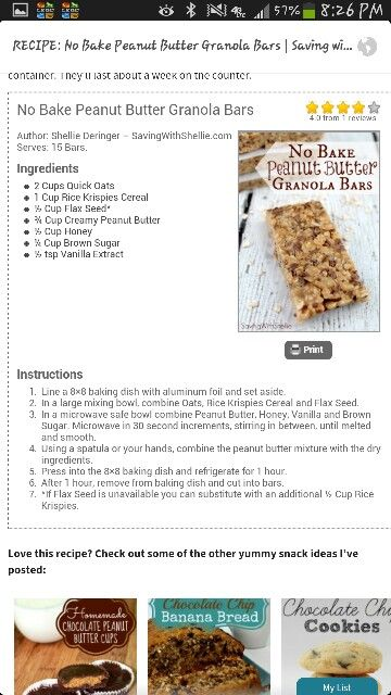 Peanut butter granola bars | Recipes To Try | Pinterest
