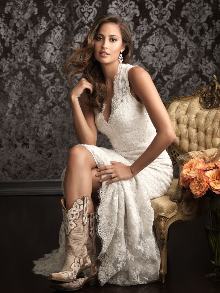 Allure Bridals 9019 Vintage Lace Wedding Dress paired with bridal chic wedding boots.