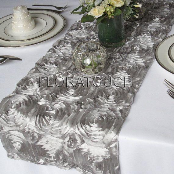 Table $18.00 Runner Silver wedding rosette table Satin Rosette Wedding Ribbon  runner floratouch, by
