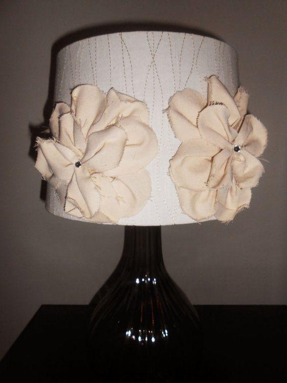 burlap flower lamp shade. Black Bedroom Furniture Sets. Home Design Ideas