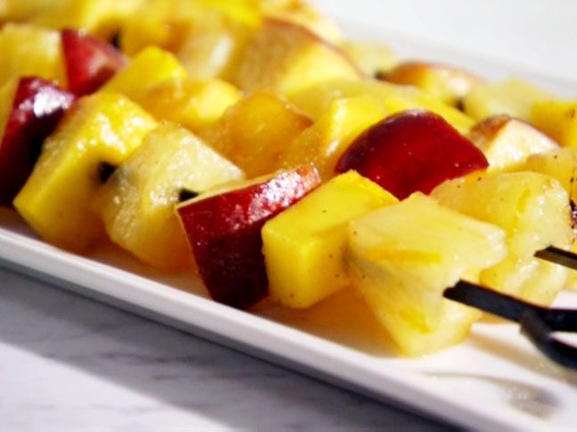 Grilled Fruit Skewers with Sweet Yogurt Sauce from FoodNetwork.com ...